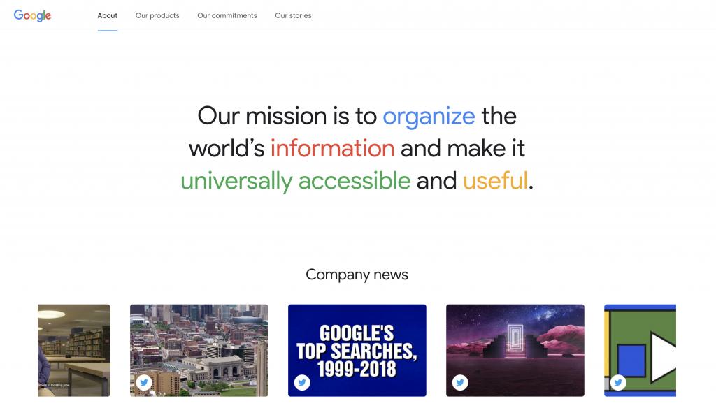 de over ons-pagina van Google